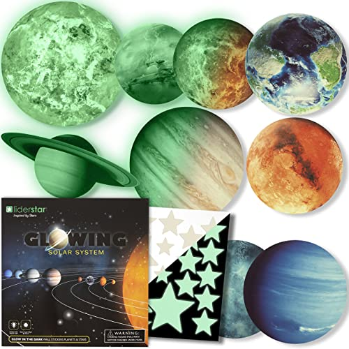 Buy Glow In The Dark Stars And Planets Bright Solar System Wall Stickers Sun Earth Mars And So On 9 Glowing Ceiling Decals For Bedroom Living Room Shining Space Decoration For Kids For Girls