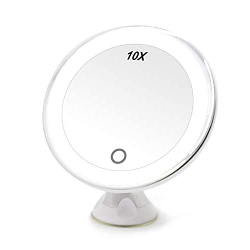 Led 10x Magnifying Lighted Makeup, Suction Magnifying Mirror For Bathroom