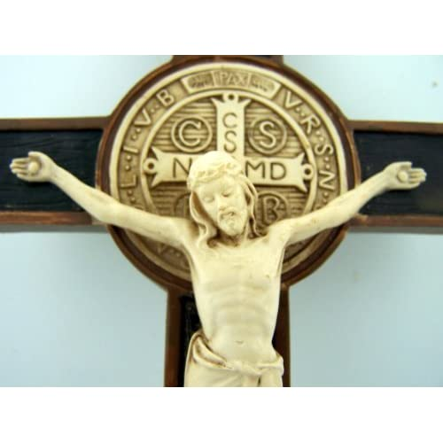 Buy Saint Benedict Cross Crucifix Medal Wall Exocism Ivory Tone 7 Inch Carved Detail Online In Nigeria B0070xnf3o
