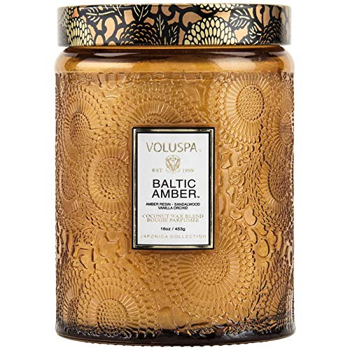 Buy Voluspa Baltic Amber Large Embossed Glass Jar Candle 16 Ounces Online In Nigeria B005z5q3z6