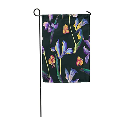 Tarolo Decoration Flag Blue Ink Pattern Iris Flowers And Leaves Van Gogh Painting Brushed Lines Dots Colorful Artistic Thick Fabric Double Sided Home Garden Flag 12 W X 18 H Buy