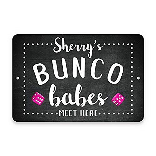 Buy Uptell Personalised Chalkboard Bunco Babes Meet Here Vintage Distressed Metal Signs Vintage Metal Wall Sign Tin Plaque 8x12 Online In Nigeria B07mytht49