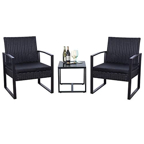 Flamaker 3 Pieces Patio Set Outdoor, All Weather Wicker Patio Dining Sets