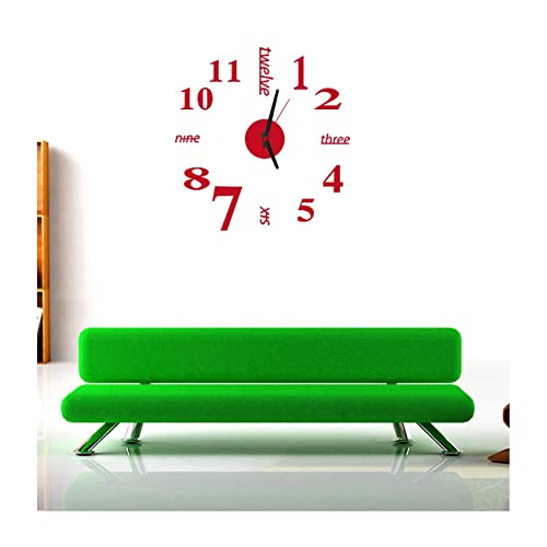 Buy Alrenstmfashion Red Arabic Numbers And English Letters Frameless Acrylic Mirror Wall Clock Diy 3d Mural Decal Home Decoration Living Room Office Decor Wall Sticker Removable Online In Nigeria B016f4xt70