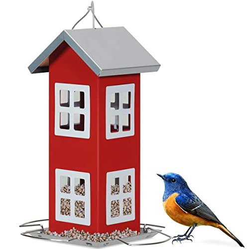 Buy Giantex Wild Bird House Feeder Weatherproof Bird Feeder For Outside Easy To Clean Refill Food With Hanging Cord Suitable For Backyard Garden Window Sill Hanging Bird Feeder Red Online