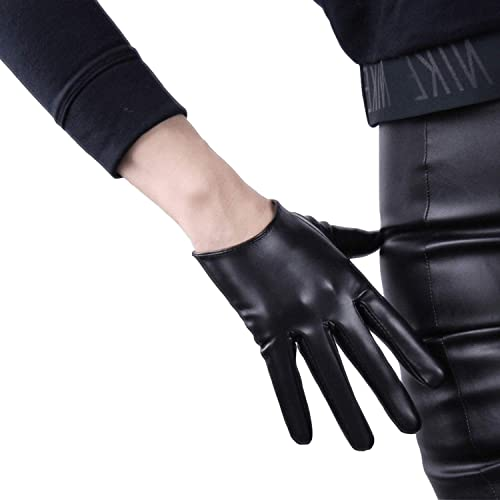 DooWay New Design 27inch Extra Long TOUCHSCREEN Faux Leather PU Gloves Womens 1 Pair Black Shiny Unlined Finger Wholesale Gloves