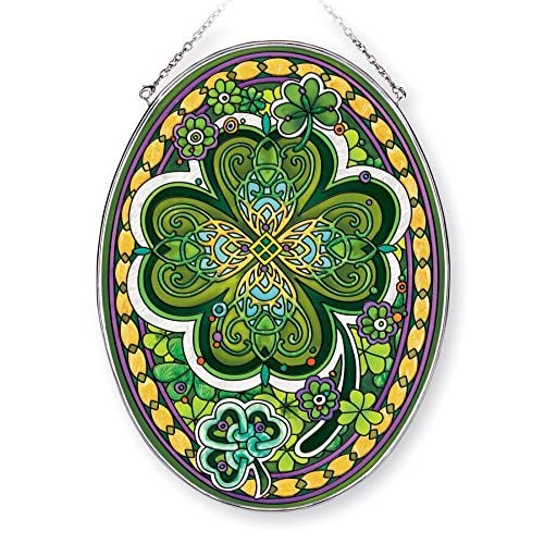 Buy Amia Large Four Leaf Irish Clover Hand Painted Glass Oval Suncatcher 9 Inches High 42366 9 Online In Nigeria B01lbo4rd4