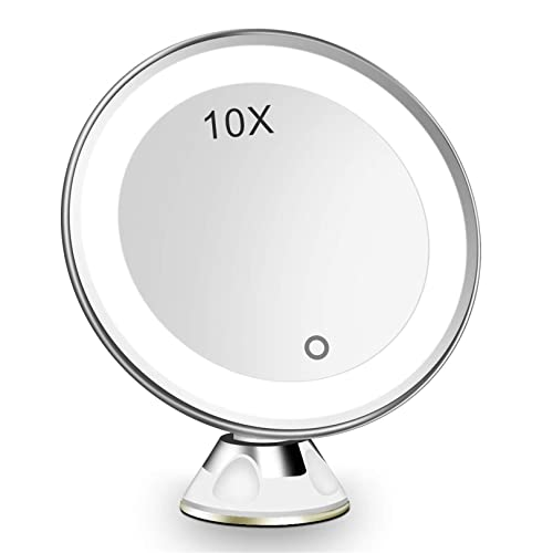 10x Lighted Magnifying Mirror, Suction Magnifying Mirror For Bathroom