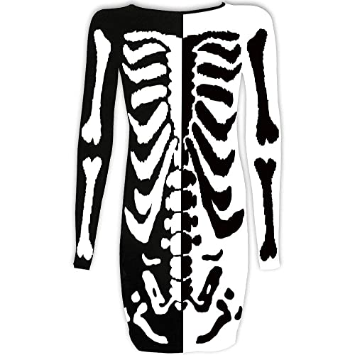 For G and PL Womens Halloween Costume Skeleton Funny Long Sleeve Midi Dresses