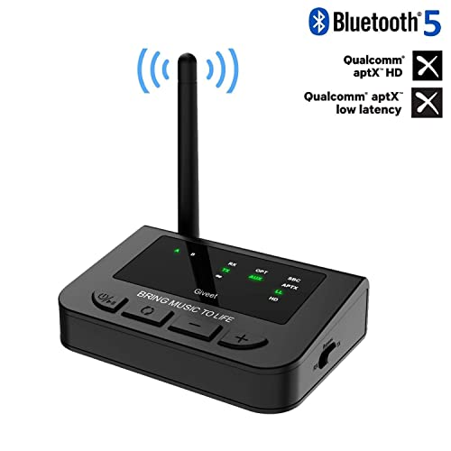 Giveet 265FT Long Range Bluetooth Transmitter Receiver with Audio Pass-Thru for TV Stereo Always On aptX HD /& Low Latency 3-in-1 Wireless AUX Adapter with Digital Optical 3.5mm RCA Plug /& Play
