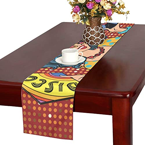 Cotton Linen Table Runner 13x70inch Vintage Traditional African Geometric Pattern Non-Slip Modern Table Runners for Family Dinner Kitchen Parties Wedding Table Setting Decor