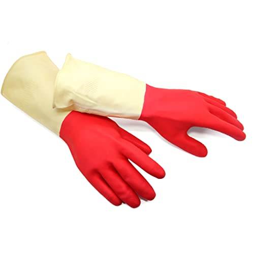 3 Pairs Bathroom Washing Kitchen BOOMJOY Cleaning Gloves Creamy White Size-M Reusable Rubber Kitchen Gloves Heavy Duty for Cooking