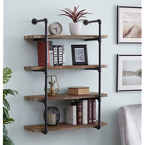 Homissue 4 Shelf Rustic Pipe Shelving Unit Metal Decorative Accent Wall Book Shelf For Home Or Office Organizer Retro Brown Buy Products Online With Ubuy Nigeria In Affordable Prices B07bwptc8y
