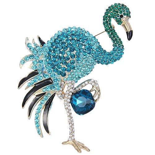 EVER FAITH Womens Crystal 4 Inch Party Peacock Plume Teardrop Brooch