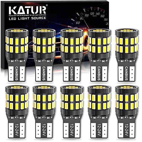 Upgraded Version KATUR 194 T10 W5W 168 LED Light Bulb Super Bright 6000K Xenon White 30-SMD 3014 Chips 12-24V CANBUS Error Free LED Bulb Replacement for Car Dome Map Door Courtesy License Plate Light