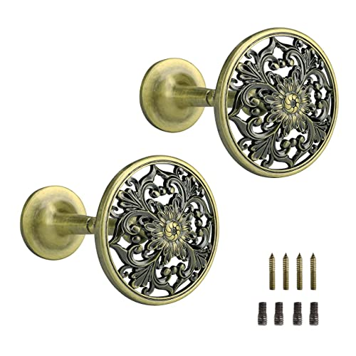 Buy Lewondr Curtain Holdbacks Set Of 2 Wall Mounted Draperies Hooks Antique Engraved Floral Plate Vintage Retro Decorative Metal Hangers For Home Living Room Bathroom Closet Bronze Online In Nigeria B082kn638l