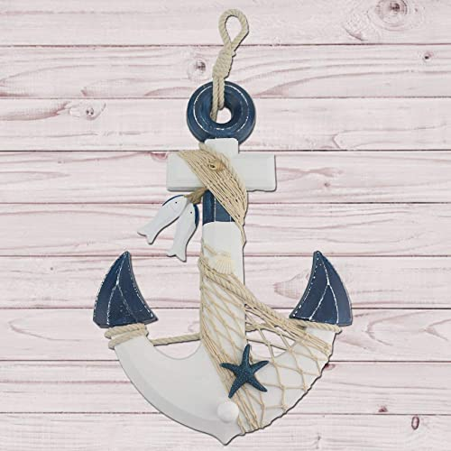 Buy Sunnygalde 15 5 H Nautical Wooden Anchor With Rope Crossbar Large Nautical Anchor Wall Decor Door Hanging Ornament For Oceannauticalbeach Theme Room Decorationdark Blue Online In Nigeria B07k7hwnpp