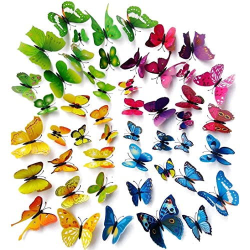 Amaonm 96pcs 8 Packages 3d Butterfly Wall Stickers Murals Removable Diy Butterflies Wall Decals Wall Art Decor For Kids Babys Boys And Girls Bedroom Living Room Office Classroom Decorations 4color Buy
