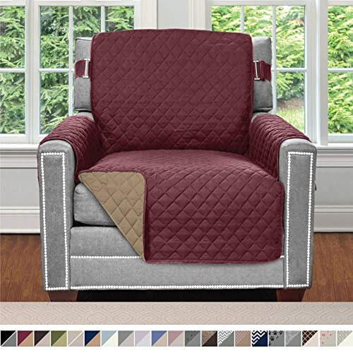 Fastener Straps Armchair Burgundy Seat Width up to 23 Inch Stretch Furniture Slipcover Dogs Spandex Chair Slip Cover Throw for Pets Sofa Shield Original Fitted 1 Piece Chair Protector