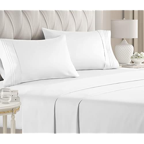 Queen Size Sheet Set 4 Piece, White Bed Sheets Queen