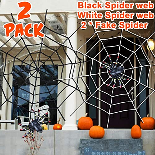 2 Colorful Spiders Creepy Indoor Outdoor Yard Haunted House School Party Supplies Black and White Round Stretch Cobweb 2 Pack Total 10ft Halloween Decorations Giant Spider Webs with Fake Spiders