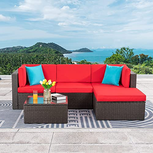Vongrasig 5 Piece Patio Furniture Sets, All Weather Wicker Patio Dining Sets