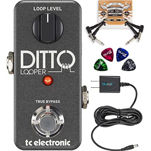 Tc Electronic Ditto Looper Effects Pedal Bundled With Blucoil Slim 9v 670ma Power Supply Ac Adapter 2 Pack Of Pedal Patch Cables And 4 Pack Of Celluloid Guitar Picks Buy Products Online With