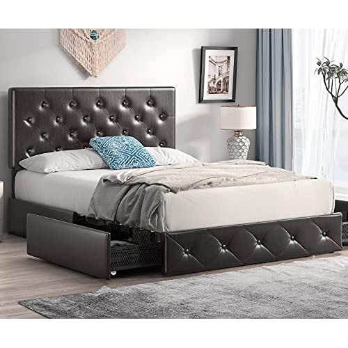 Sha Cerlin Queen Size Bed Frame, Leather Upholstered Queen Size Bed Frame