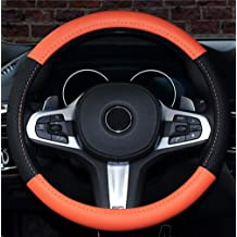 Istn Unisexs Sport Style Contrast Color Non-slip Sweat Good Breathable PU Leatherette 15 inch Car Steering Wheel Cover 38cm Coffee